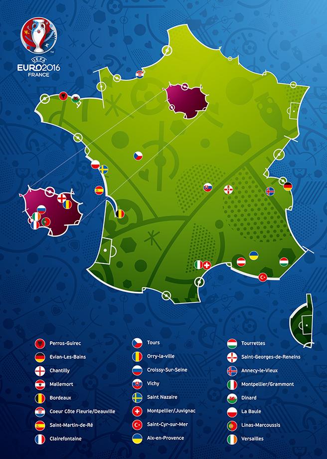 EK 2016 accommodaties teams